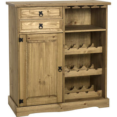 Corona - 1 Door 2 Drawer Wine Rack - Pine