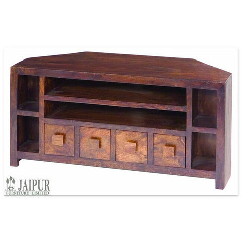 Picture of Dakota DCTV - 4 Drawer Corner TV Unit - Dark Mango