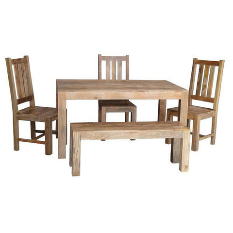 Picture of Dakota DLDTL - Dining Table 4 Chairs and Bench - Light Mango