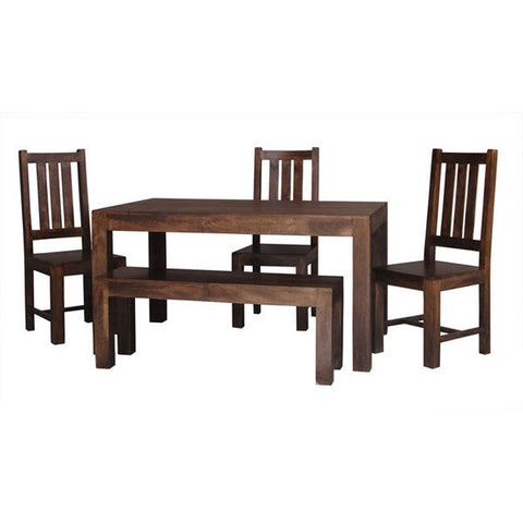 Picture of Dakota DLDT - Dining Table 4 Chairs and Bench - Dark Mango