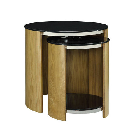 Picture of Jual JF305 - Nest of Tables with Glass Tops - Oak