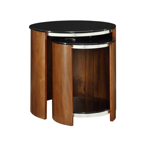 Picture of Jual JF305 - Nest of Glass Top Tables - Walnut