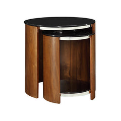 Jual JF305 - Nest of Glass Top Tables - Walnut