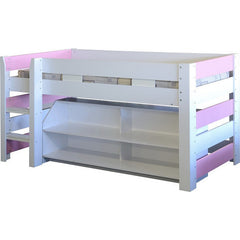 Lollipop - Midsleeper with Storage - Pink and White