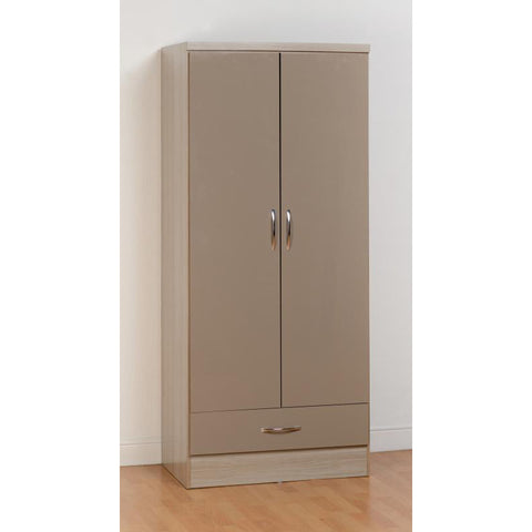 Picture of Nevada - 2 Door 1 Drawer Wardrobe - Oyster Gloss