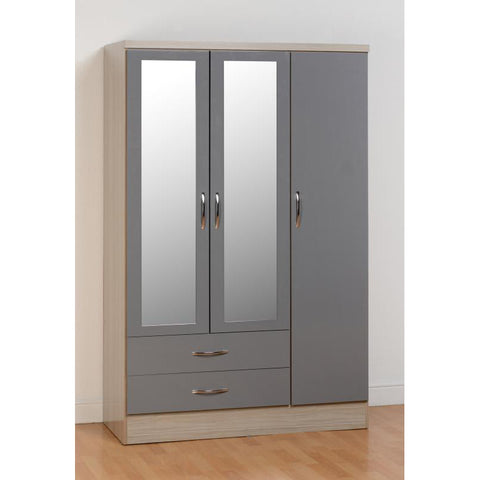 Picture of Nevada - 3 Door 2 Drawer Wardrobe - Grey Gloss
