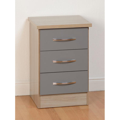 Picture of Nevada - 3 Drawer Bedside - Grey Gloss