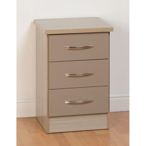 Picture of Nevada - 3 Drawer Bedside - Oyster Gloss