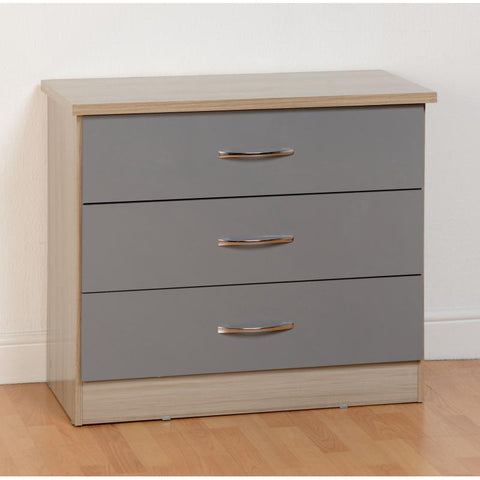 Picture of Nevada - 3 Drawer Chest - Grey Gloss
