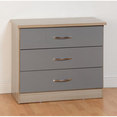 Nevada - 3 Drawer Chest - Grey Gloss