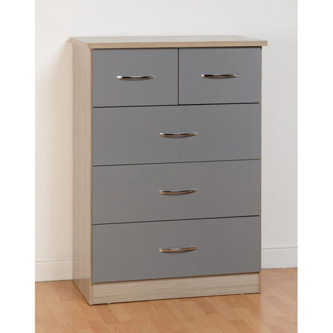 Picture of Nevada - 3+2 Drawer Chest - Grey Gloss