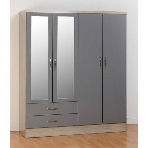 Picture of Nevada - 4 Door 2 Drawer Wardrobe - Grey Gloss