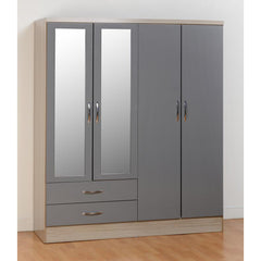 Nevada - 4 Door 2 Drawer Wardrobe - Grey Gloss