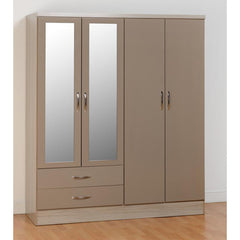 Nevada - 4 Door 2 Drawer Wardrobe - Oyster Gloss