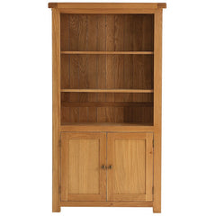 Oakham - Large Bookcase with Cupboard - Oak