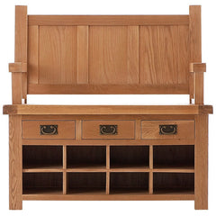 Oakham - Monks Bench with Storage - Oak
