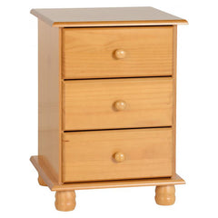 Sol - 3 Drawer Bedside - Pine