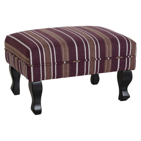 Picture of Sherborne - Foot Stool - Burgandy Stripe