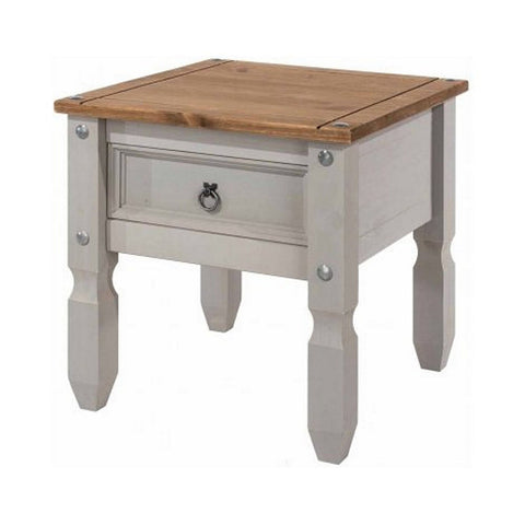 Picture of Corona Grey - Lamp Table with Drawer - Grey/Pine