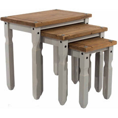 Corona Grey - Nest of Tables - Grey/Pine