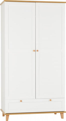 Picture of Arcadia 2 Door 1 Drawer Wardrobe in White/Ash Effect Veneer