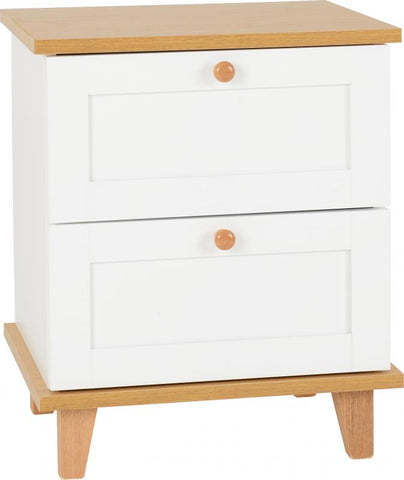 Picture of Arcadia 2 Drawer Bedside Chest in White/Ash Effect Veneer