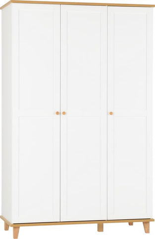 Picture of Arcadia 3 Door Wardrobe in White/Ash Effect Veneer