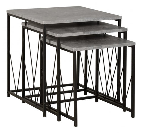 Picture of Athens Nest of Tables in Concrete Effect/Black