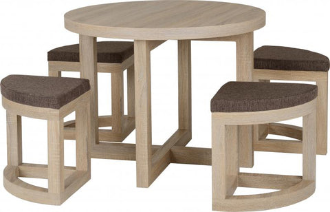 Picture of Cambourne Stowaway Dining Set in Sonoma Oak Effect Veneer/Brown Linen Fleck