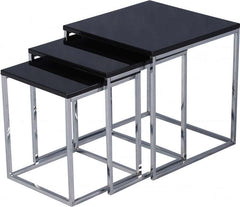 Charisma -Nest of Tables in Black Gloss/Chrome