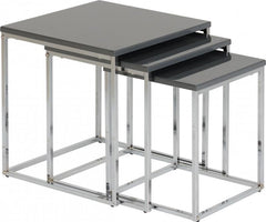 Charisma -Nest of Tables in Grey Gloss/Chrome