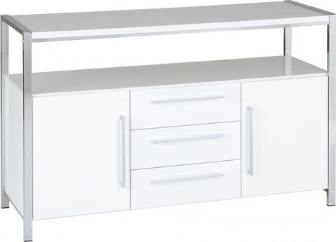 Picture of Charisma - 2 Door 3 Drawer Sideboard in White Gloss/Chrome