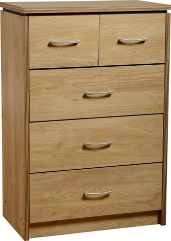 Picture of Charles 3+2 Drawer Chest in Oak Effect Veneer with Walnut Trim