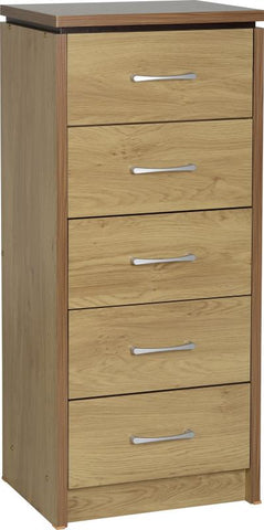Picture of Charles 5 Drawer Narrow Chest in Oak Effect Veneer with Walnut Trim