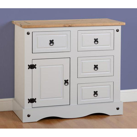 Picture of Corona - 4 Drawer 1 Door Sideboard - White/Pine or Grey/Pine