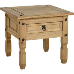 Corona - 1 Drawer Lamp Table - Pine