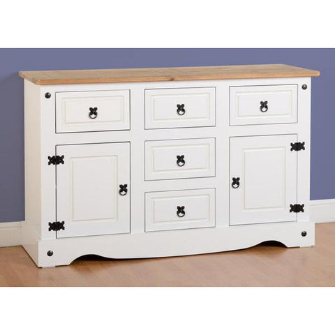 Picture of Corona - 2 Door 5 Drawer Sideboard - White/Pine or Grey/Pine