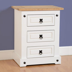 Corona - 3 Drawer Bedside - White/Pine