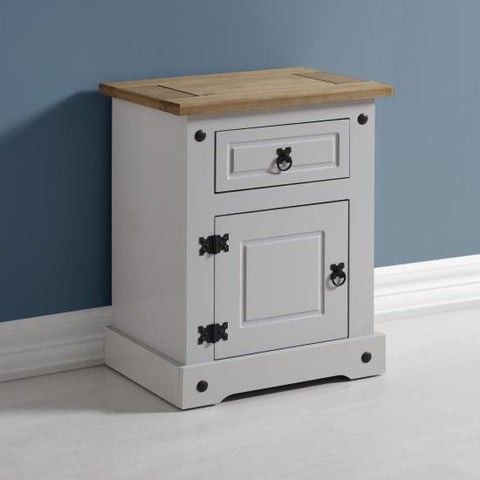 Picture of Corona - 1 Drawer Bedside - White/Pine or Grey/Pine