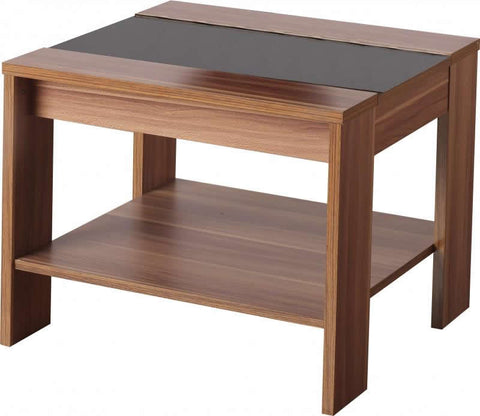 Picture of Hollywood Lamp Table in Walnut Veneer/Black Gloss