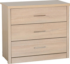 Lisbon 3 Drawer Chest in Light Oak Effect Veneer