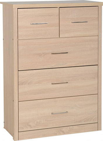 Picture of Lisbon 3+2 Drawer Chest in Light Oak Effect Veneer