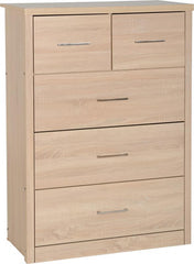 Lisbon 3+2 Drawer Chest in Light Oak Effect Veneer