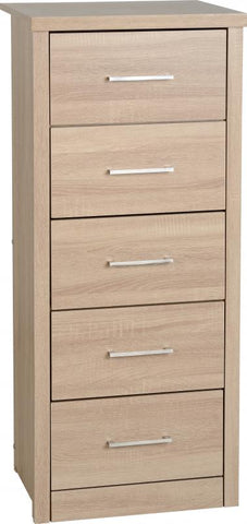 Picture of Lisbon 5 Drawer Narrow Chest in Light Oak Effect Veneer