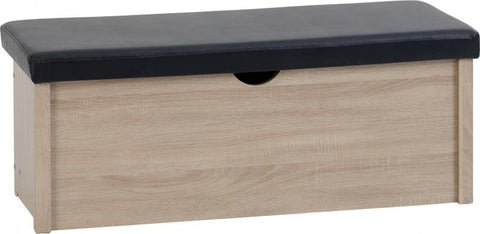 Picture of Lisbon Blanket Box in Light Oak Effect Veneer/Black Faux Leather