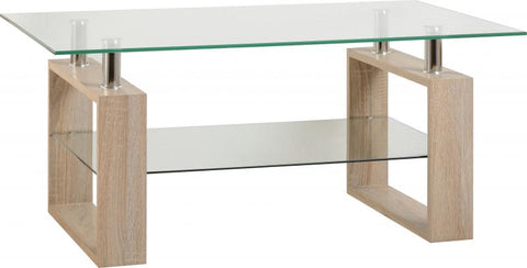 Picture of Milan Coffee Table in Sonoma Oak Effect Veneer/Clear Glass/Silver