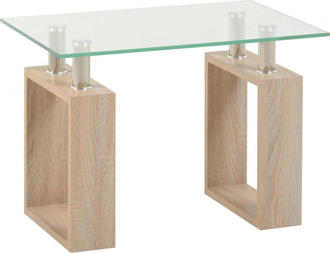 Picture of Milan Lamp Table in Sonoma Oak Effect Veneer/Clear Glass/Silver
