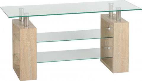 Picture of Milan TV Unit in Sonoma Oak Effect Veneer/Clear Glass/Silver