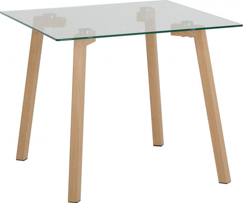 Picture of Morton Lamp Table in Clear Glass/Oak Effect Veneer
