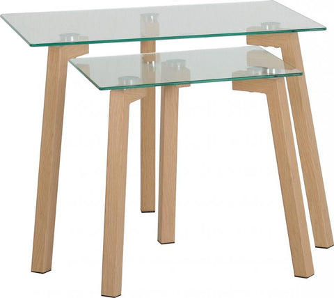 Picture of Morton Nest of Tables in Clear Glass/Oak Effect Veneer